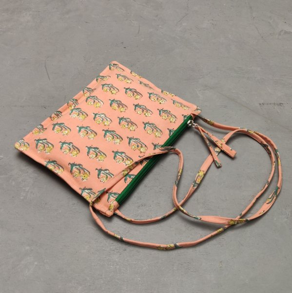 Peach Floral Canvas Sling Bag