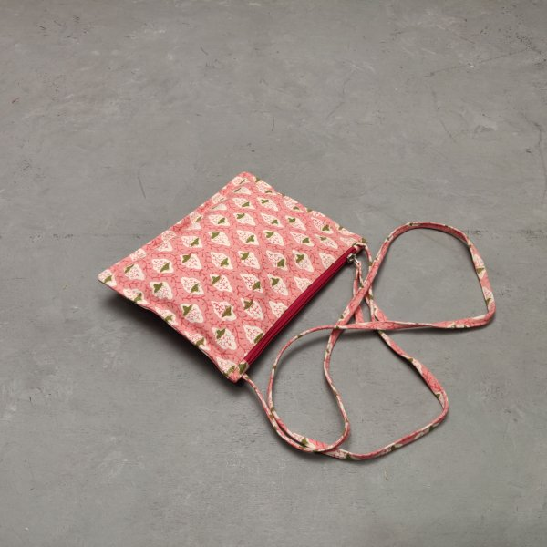Pink Based Floral Canvas Sling Bag