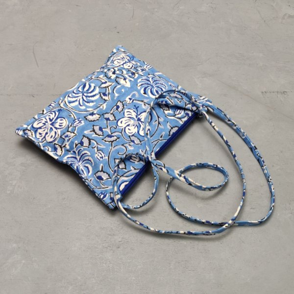 Blue Floral Canvas Sling Bag