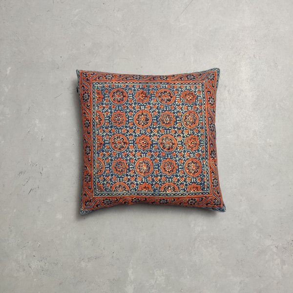 Reversible Ajrakh Handblock Printed Cushion Cover CC102