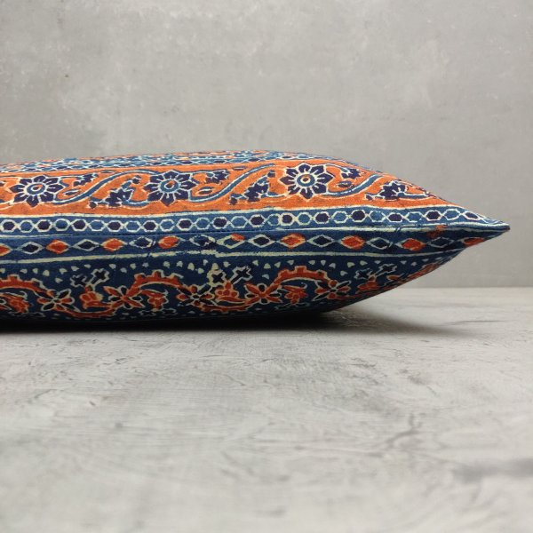 Reversible Ajrakh Handblock Printed Cushion Cover CC80