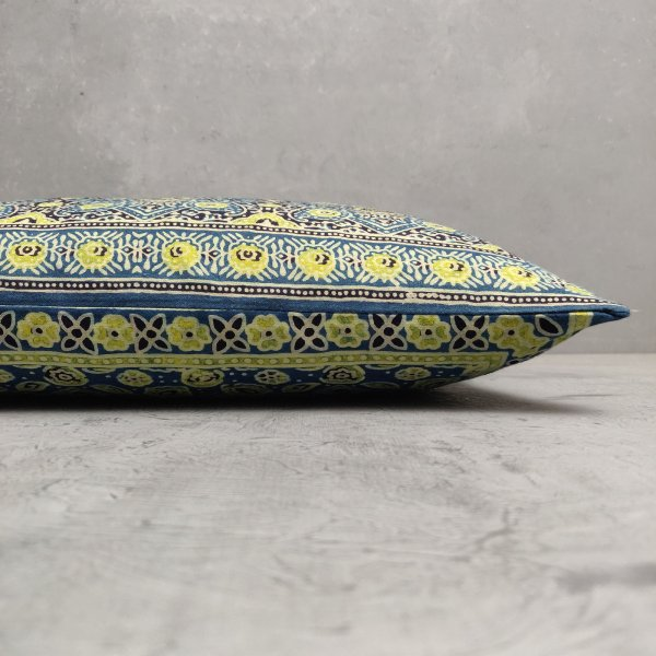 Reversible Ajrakh Handblock Printed Cushion Cover CC84
