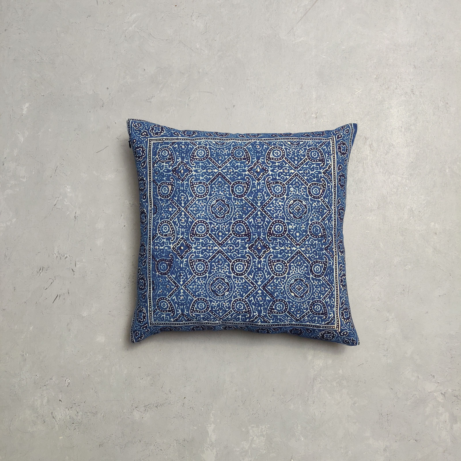 Reversible Ajrakh Handblock Printed Cushion Cover CC86