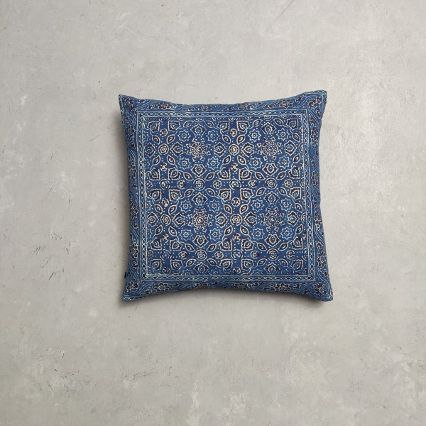 Reversible Ajrakh Handblock Printed Cushion Cover CC87