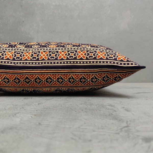 Reversible Ajrakh Handblock Printed Cushion Cover CC95