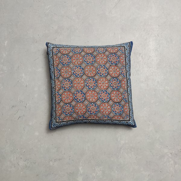 Reversible Ajrakh Handblock Printed Cushion Cover CC98