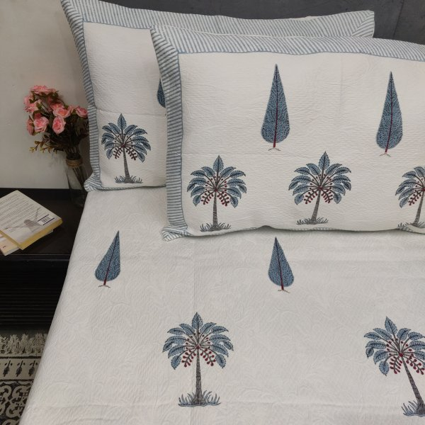 Palm  and Blue Pine Tree Buta Jackquard Handblock Double Bedspread