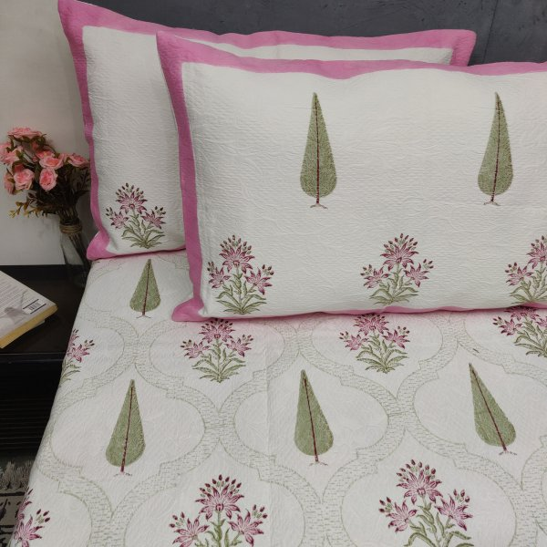 Pink Floral and Pine Tree Butta Jackquard Handblock Double Bedspread