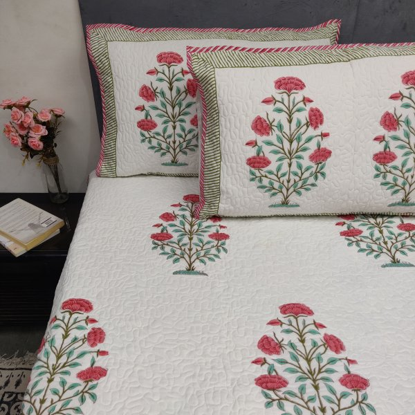 Red And Pink Handblock Machine Quilted Double Bedspread