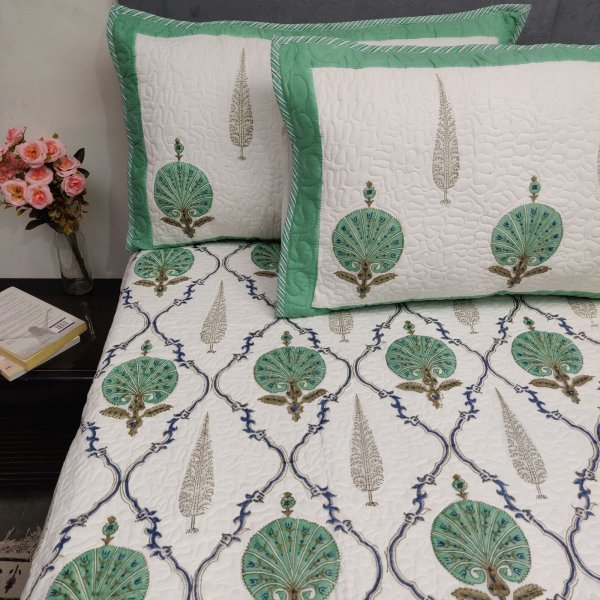 Carnation and Pine Tree Buta Handblock Machine Quilted Double Bedspread