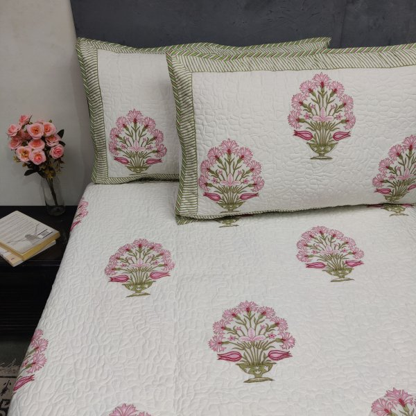Parnika Pink Handblock Machine Quilted Double Bedspread