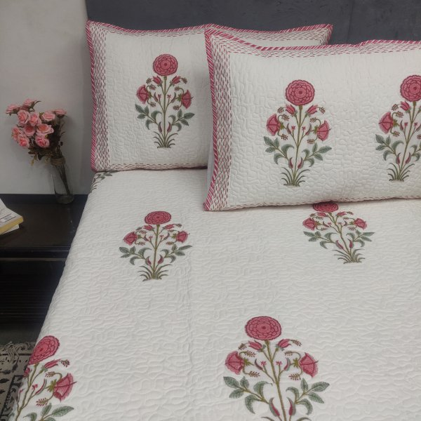Tearra Floral Handblock Machine Quilted Double Bedspread