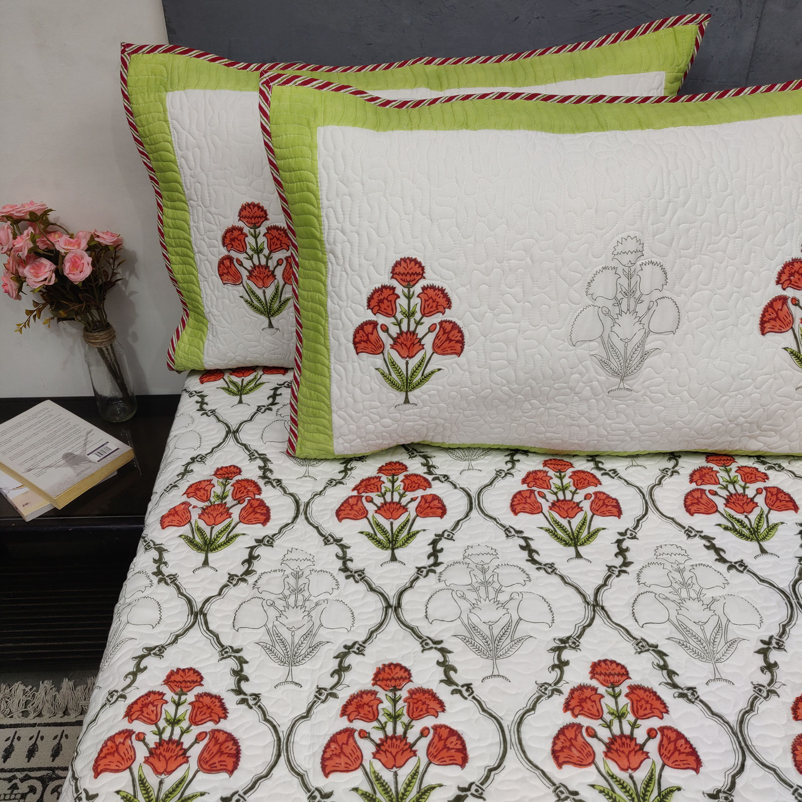 Boota Jaal Green Handblock Machine Quilted Double Bedspread