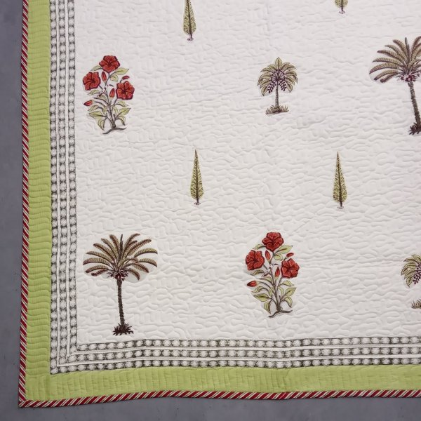 Palm Olive Pine Handblock Machine Quilted Double Bedspread