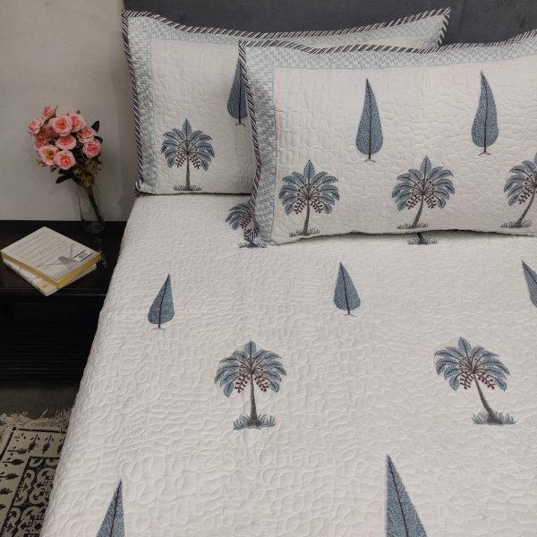 Aqua Blue Palm Pine Tree  Handblock Machine Quilted Double Bedspread