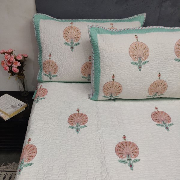 Peach Pink Carnation Handblock Machine Quilted Double Bedspread