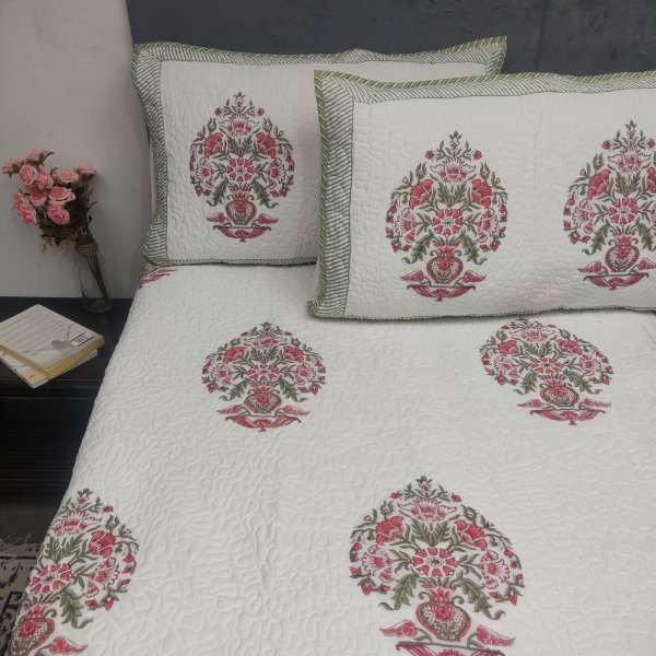 Pink Big Boquet Handblock Machine Quilted Double Bedspread