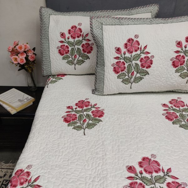 Hibiscus Floral Handblock Machine Quilted Double Bedspread