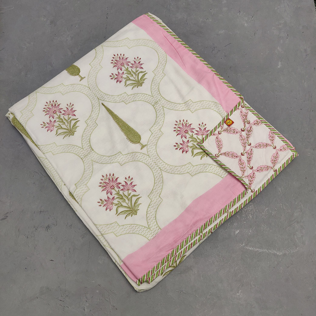 Green Pink Floral Double Size Dohar