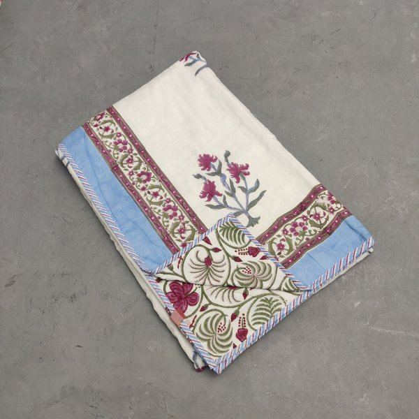 Blue Floral Border Single Size Dohar
