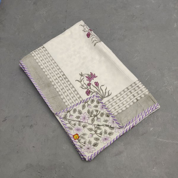 Grey Purple Floral Single Size Dohar
