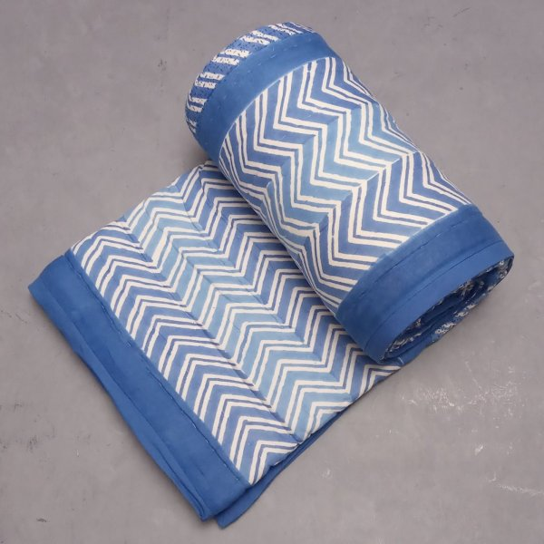 Blue Stripes Single Size Quilt