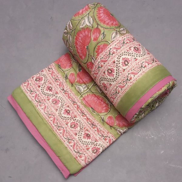 Nati Green Pink Single Size Quilt
