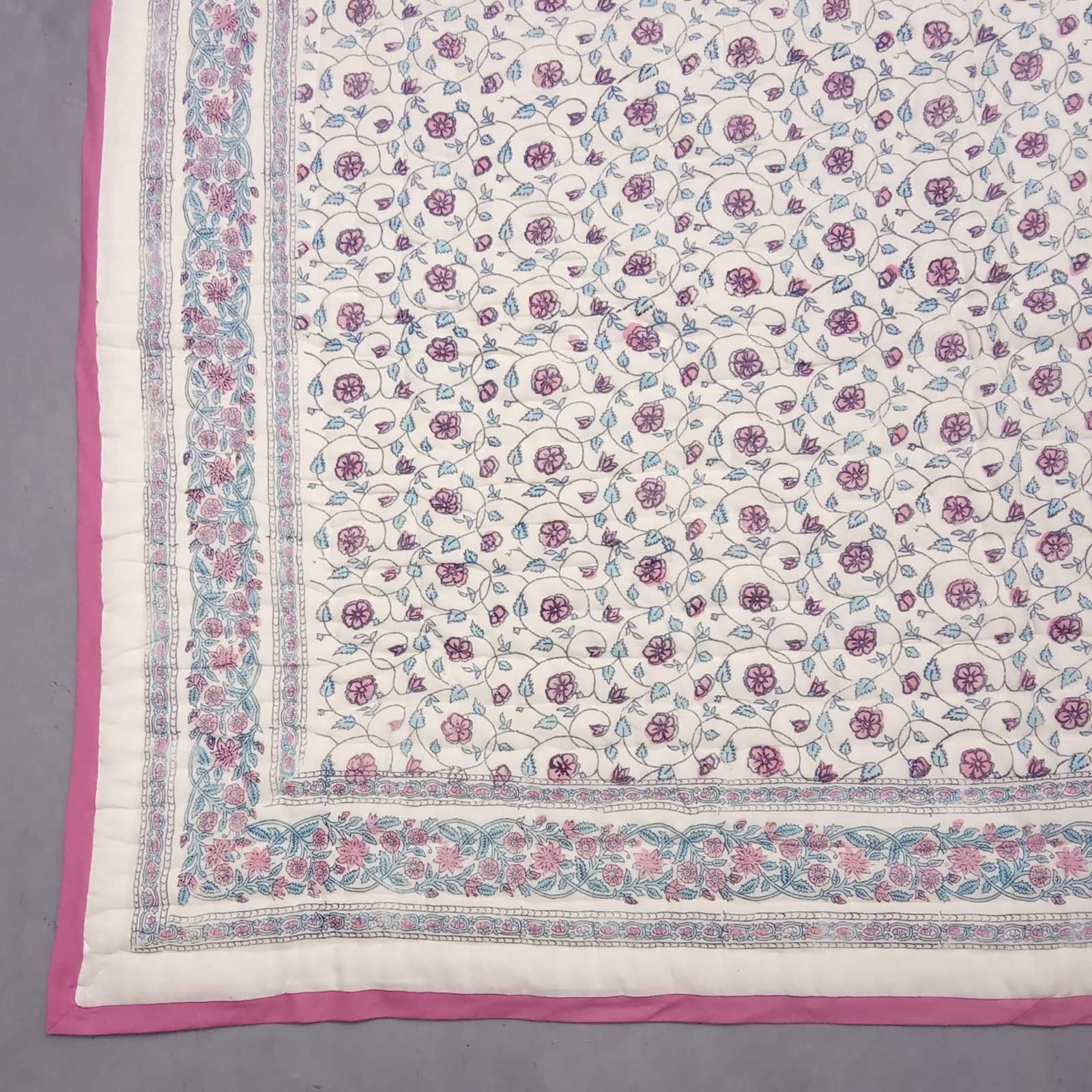 Pink Light Jaal Single Size Quilt
