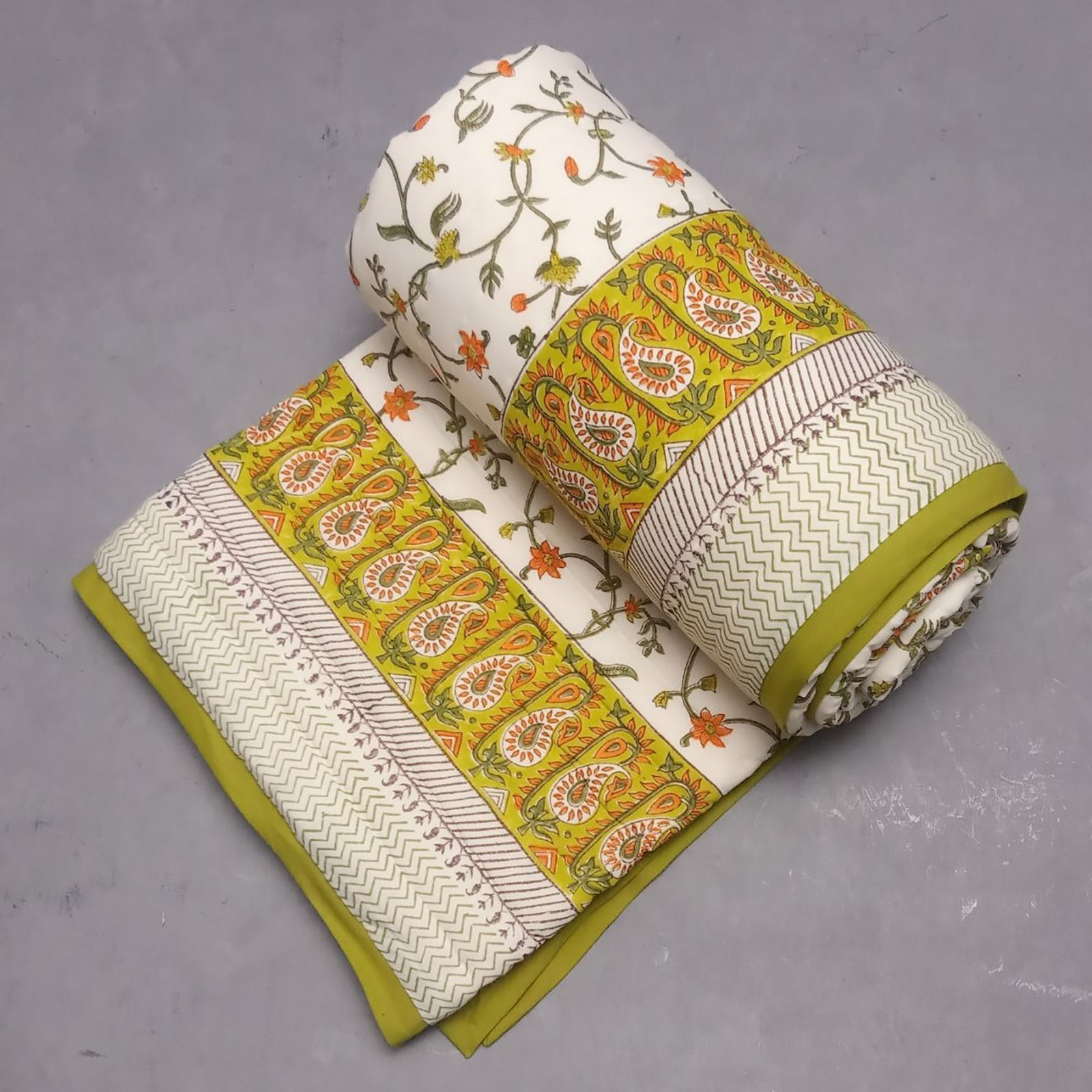 Yellow Jaal Single Size Quilt
