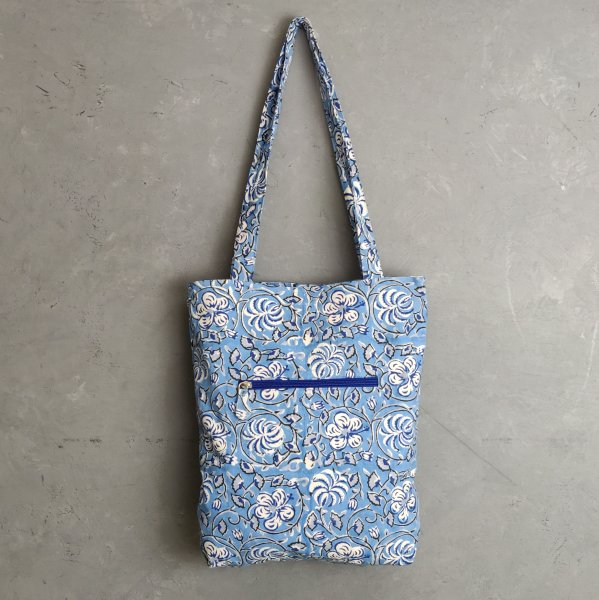 Blue Floral Medium Canvas Tote Bag