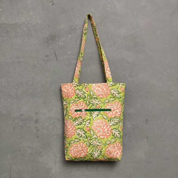 Handblock Printed Medium Canvas Tote Bag MCTB22