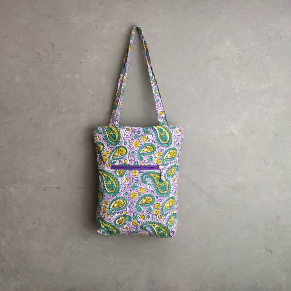 Light Purple Paisley Print Medium Canvas Tote Bag