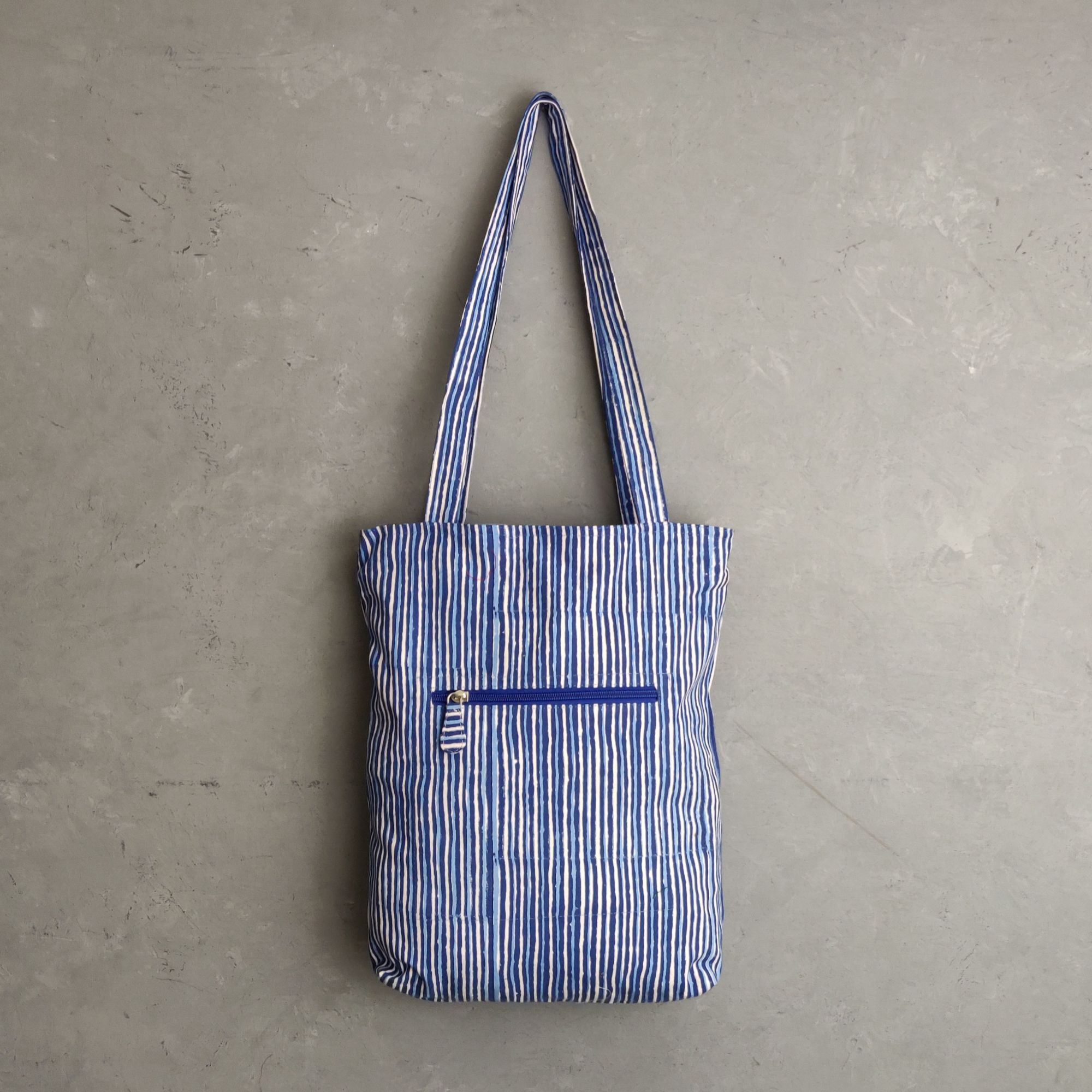 Blue Stripes Medium Canvas Tote Bag