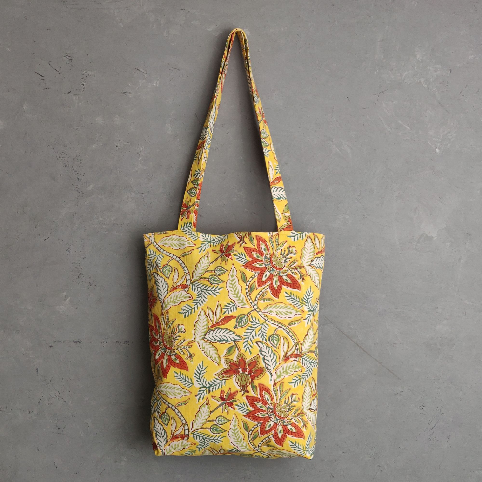 Yellow Floral Medium Canvas Tote Bag
