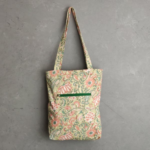 Light Green Floral Medium Canvas Tote Bag