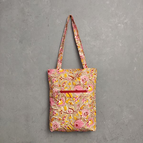 Handblock Printed Medium Canvas Tote Bag MCTB