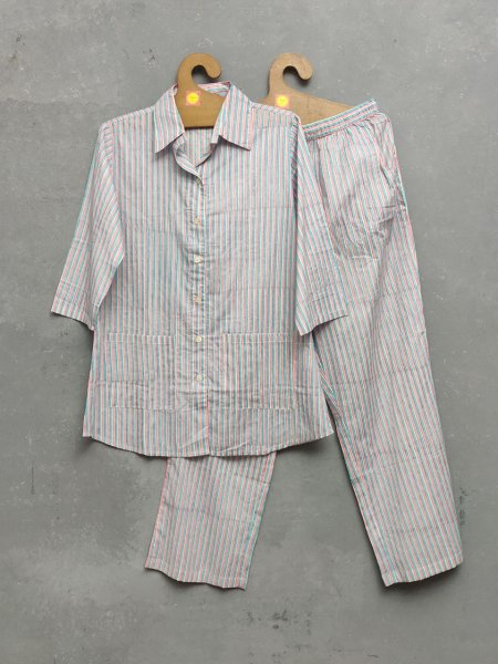Pink Stripes Night Suit