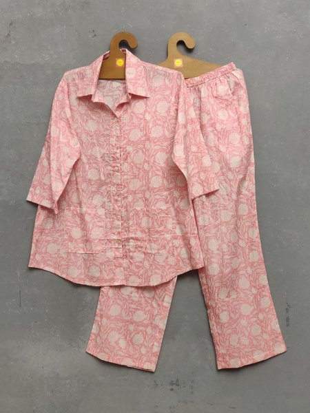 Pink Floral Night Suit