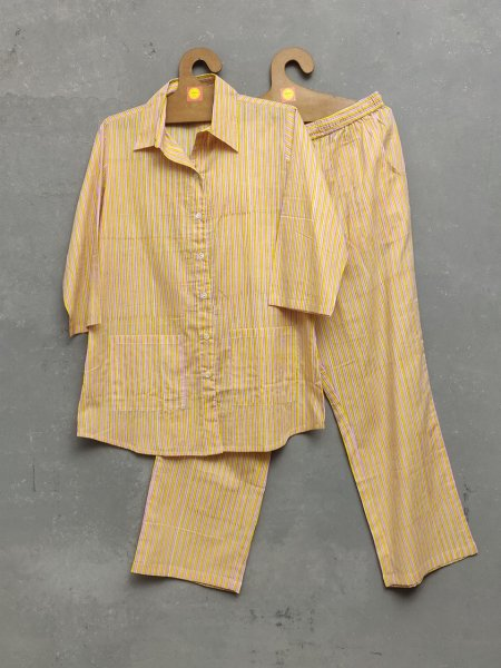 Yellow Stripes Night Suit