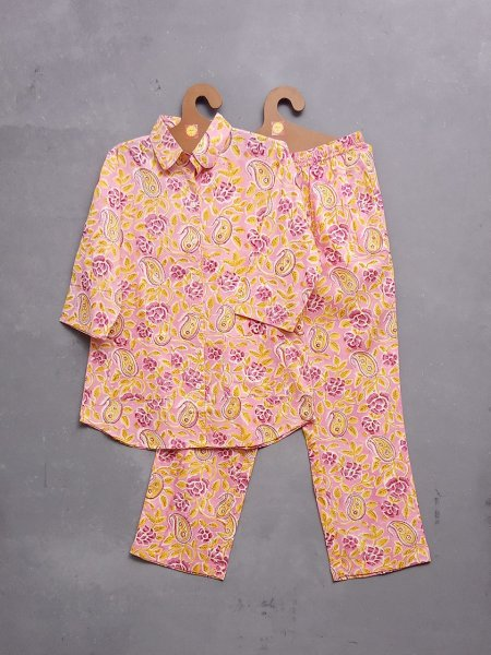 Pink Floral Yellow Paisley Night Suit