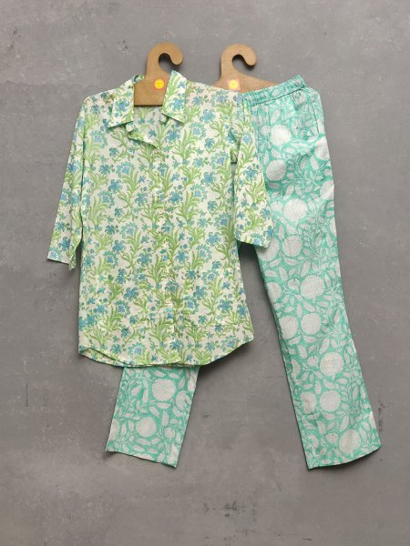 Aqua Green Night Suit