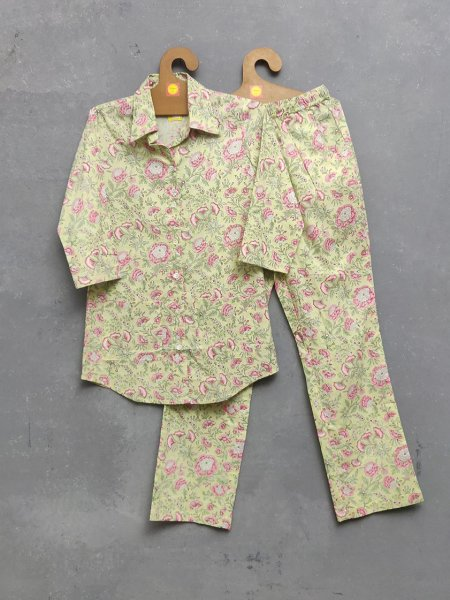 Pink Yellow Floral Night Suit