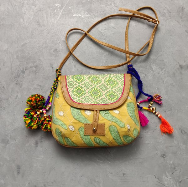 Yellow and Green Hued Braided Sling Bag