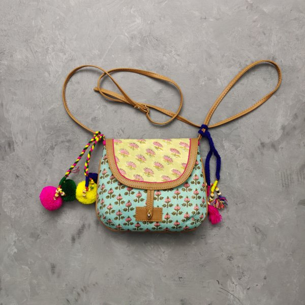 Light Blue and Yellow  Hued Braided Sling Bag
