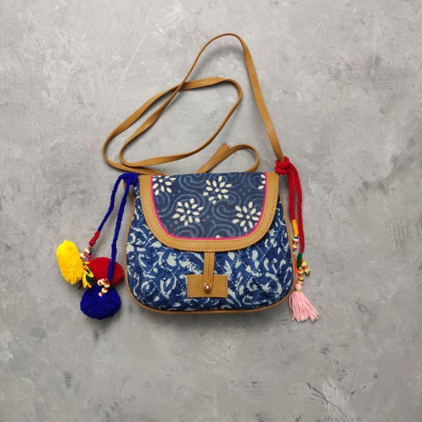 Indigo with White Hued Floral Printed Braided Sling Bag
