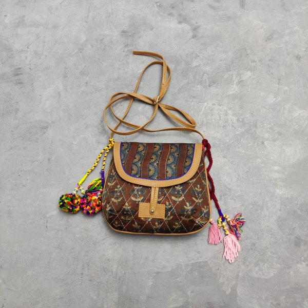 Floral Printed Braided Sling Bag SLB22
