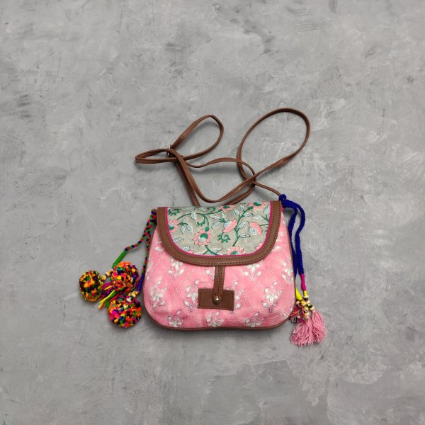 Floral Printed Braided Sling Bag SLB30