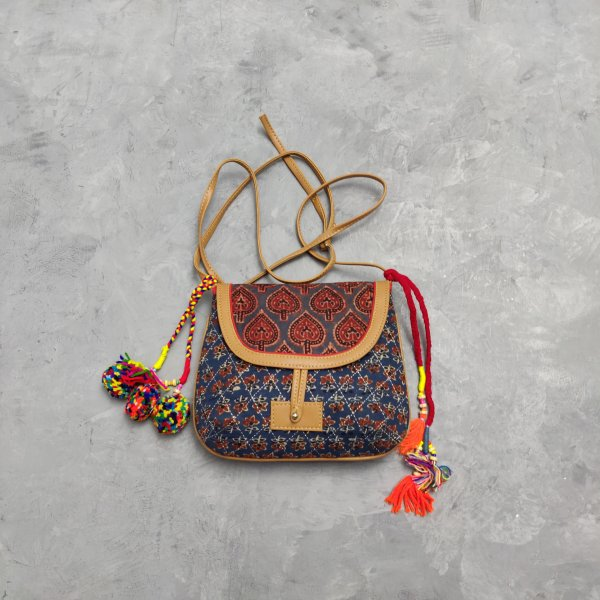 Floral Printed Braided Sling Bag SLB45