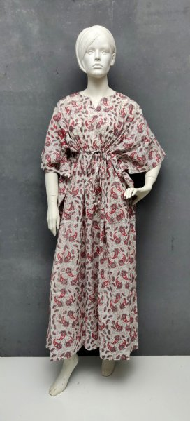 Red & Grey Floral Kaftan