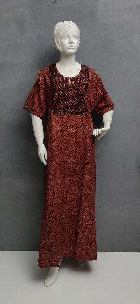 Ajrakh Handblock Printed Nighty WN205
